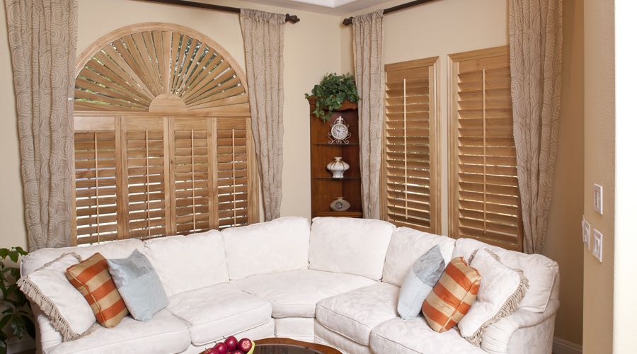 Arched Ovation Wood Shutters In Charlotte Living Room