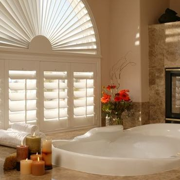 Charlotte bathroom plantation shutters.
