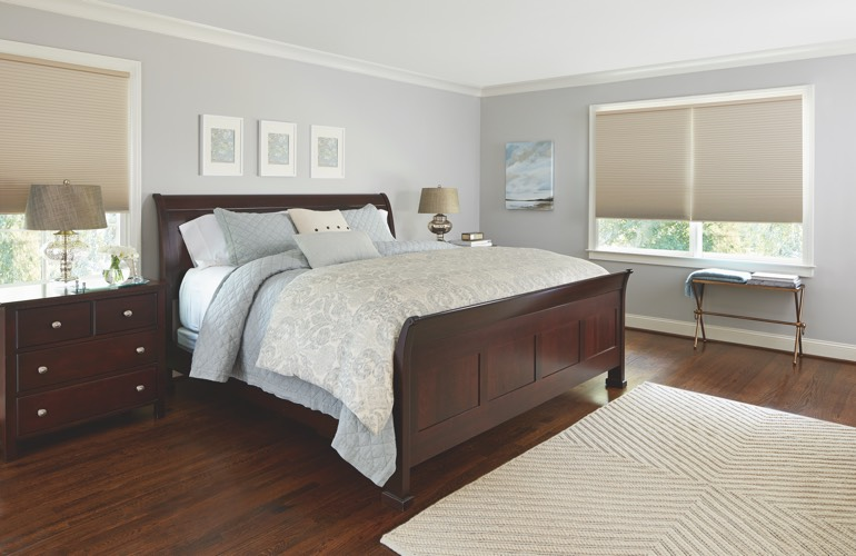 Tan shades in a Charlotte bedroom.