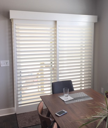 Charlotte white sliding door shutters