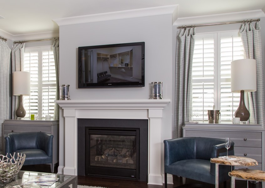 living room Charlotte faux wood shutters