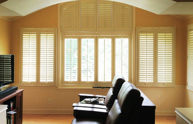 Charlotte plantation shutters in home theater