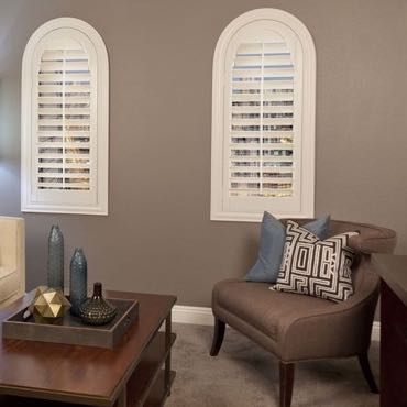 Charlotte family room interior shutters.