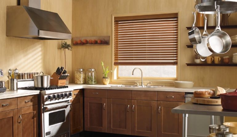 NC faux wood blinds kitchen