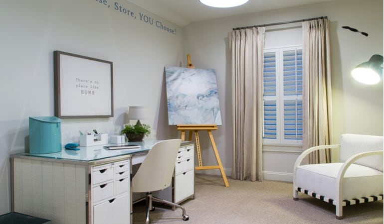 Polywood shutters in a home office.