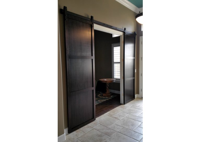 Office Barn Doors. Dark Brown Sliding Barn Door Covering Home Office Entry  🚪 Doors O
