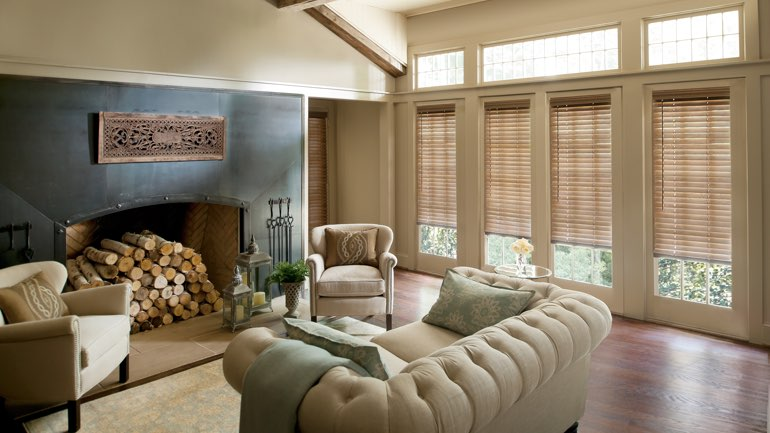 Charlotte living room with blinds