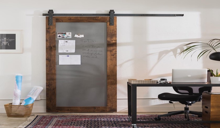 Charlotte home office barn door