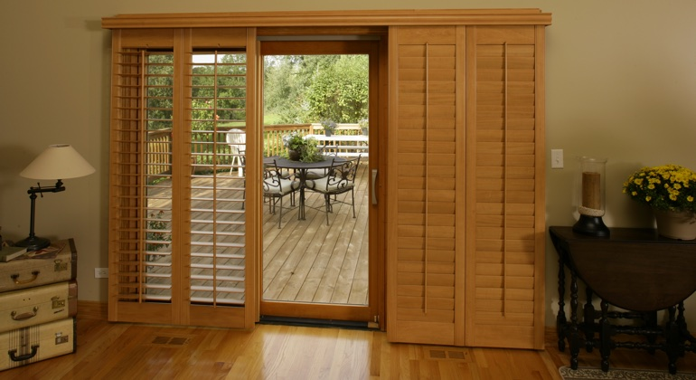 Charlotte wood shutter sliding door