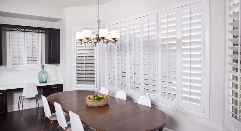 plantation shutters in Charlotte kitchen