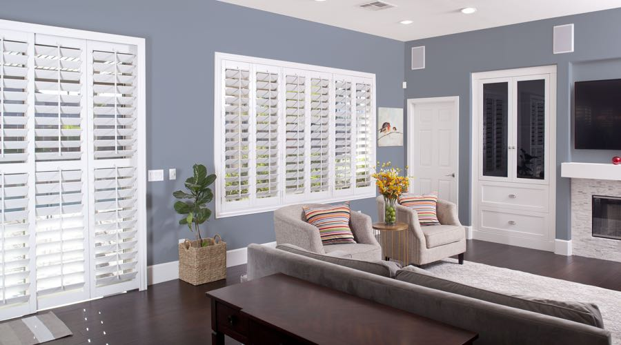 Faux Wood Shutters In blue Charlotte Living Room