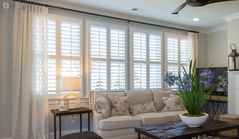 Interior Shutters in Charlotte Living Room
