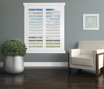 Polywood Shutters in Charlotte living room