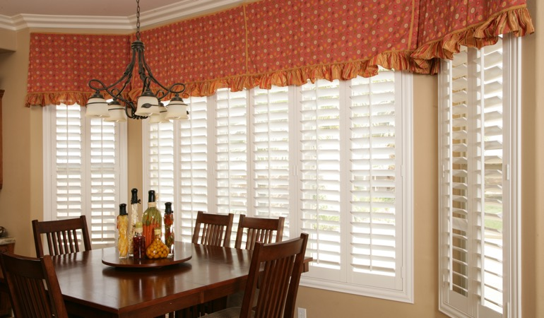 White shutters in Charlotte dining room.