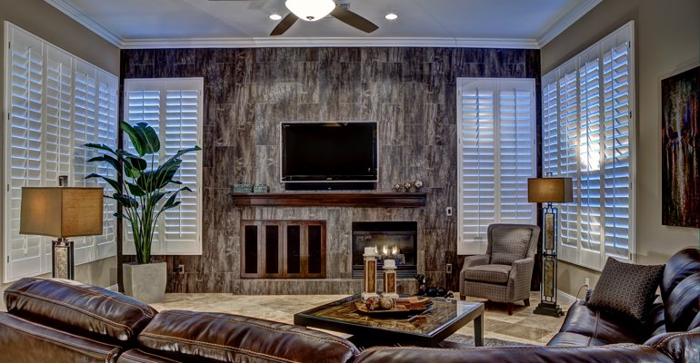 Charlotte living room with shutters