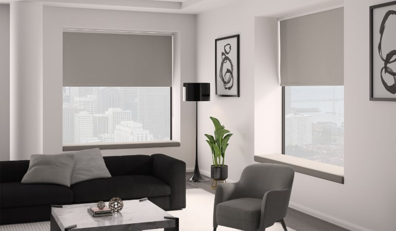 Roller shades in a living room.