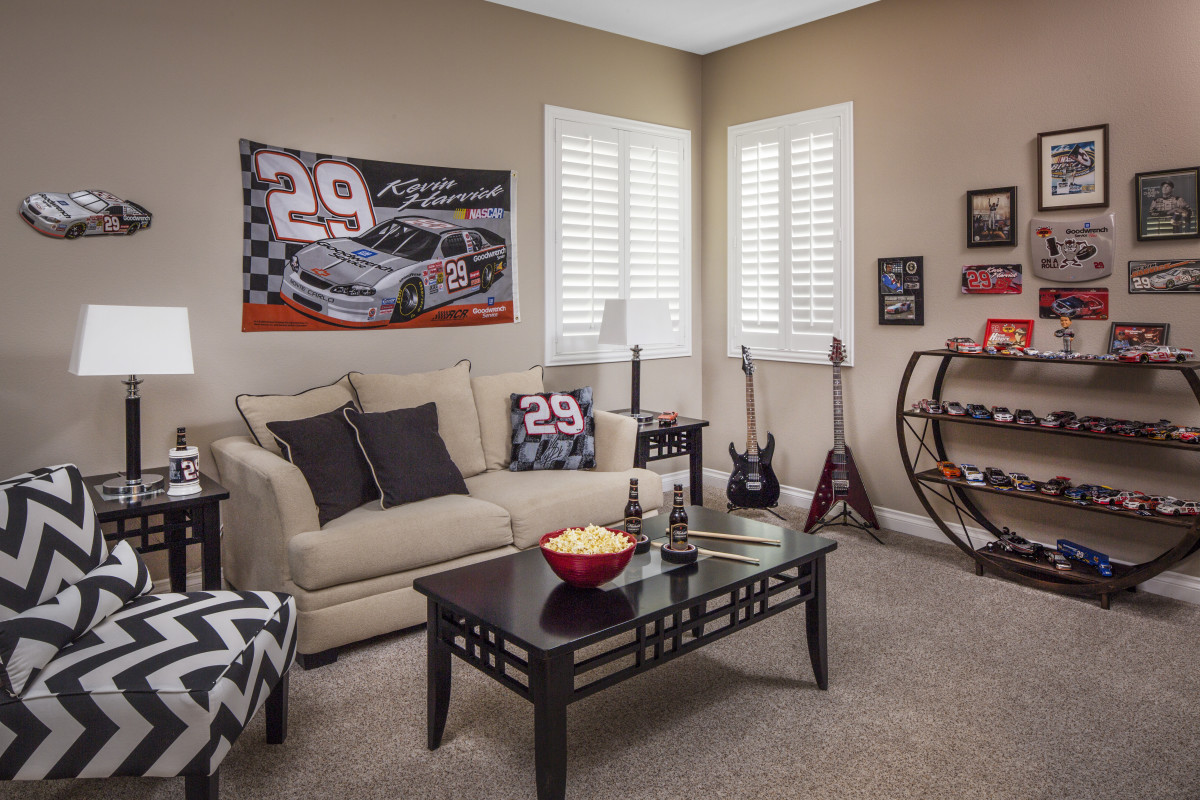 Charlotte man cave with shutters