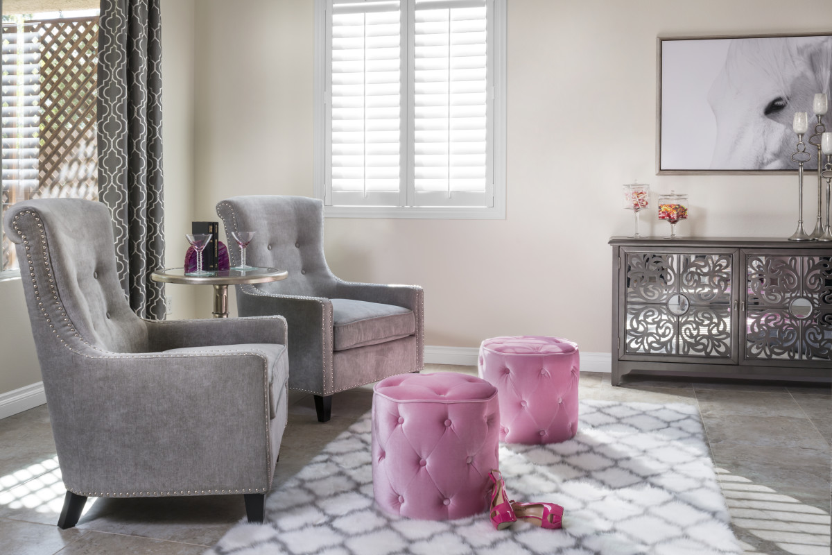 Charlotte pink living room with shutters