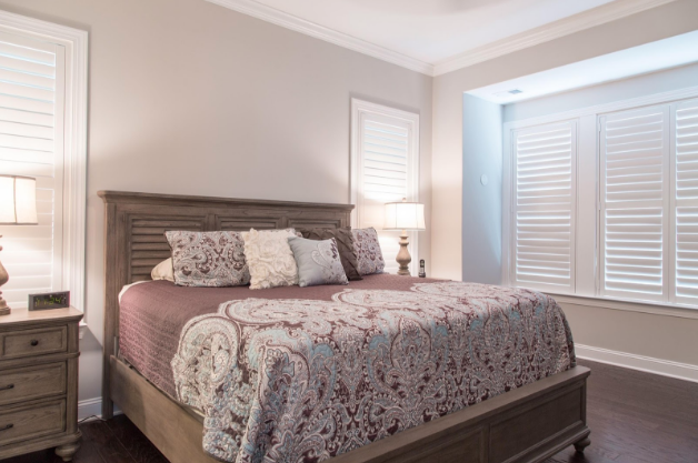 Charlotte bedroom with light block shutters