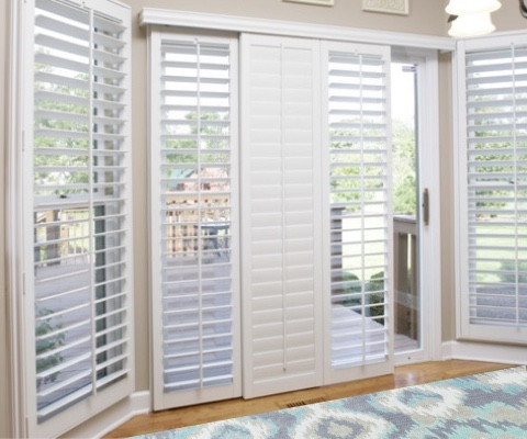 [Polywood|Plantation|Interior ]211] shutters on a sliding glass door in Charlotte