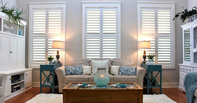 Charlotte living room indoor shutters