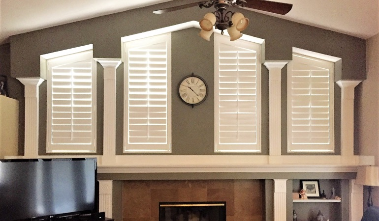Polywood Shutters in Family Room in Charlotte