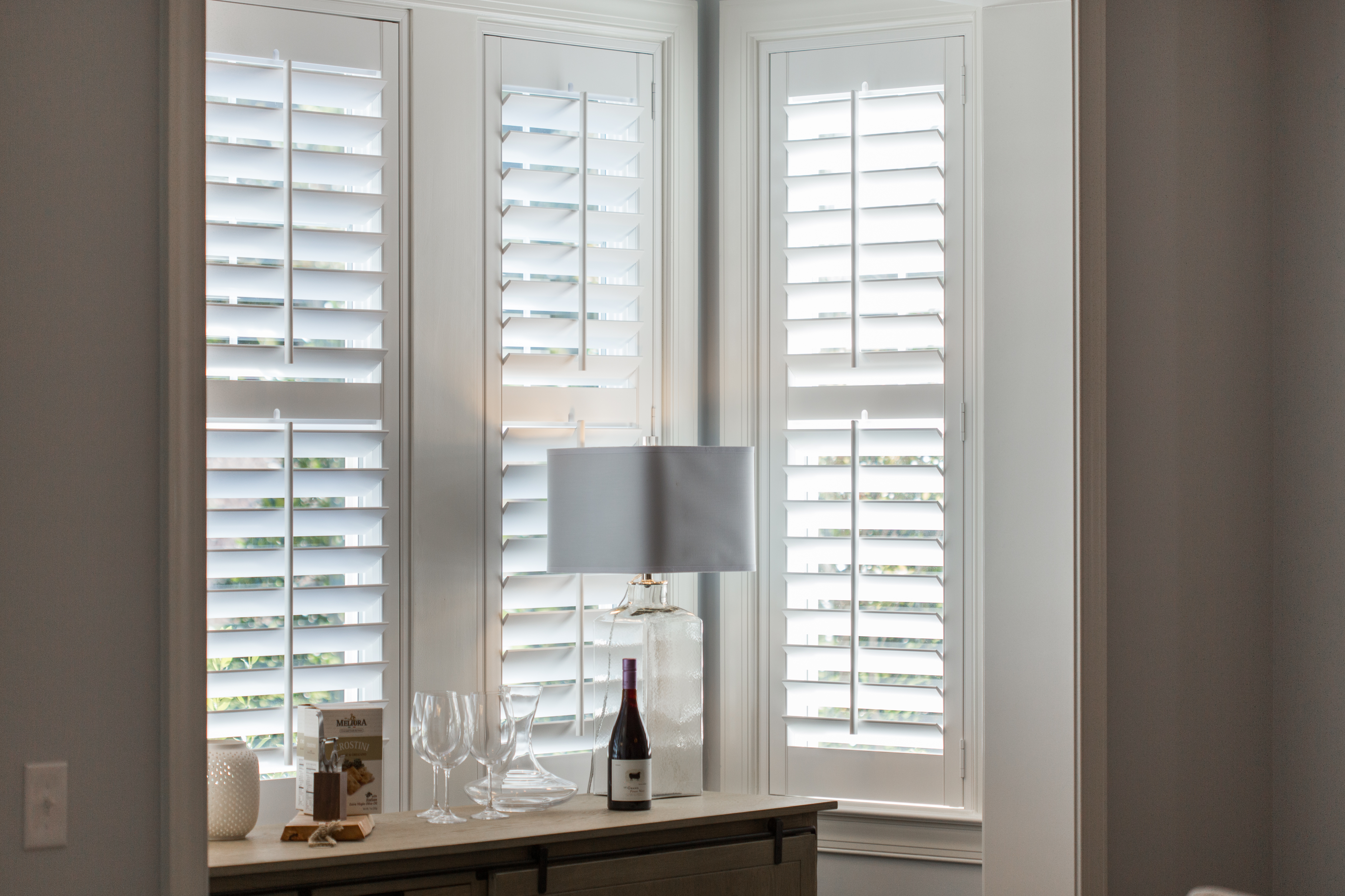 Polywood shutters in Charlotte alcove.