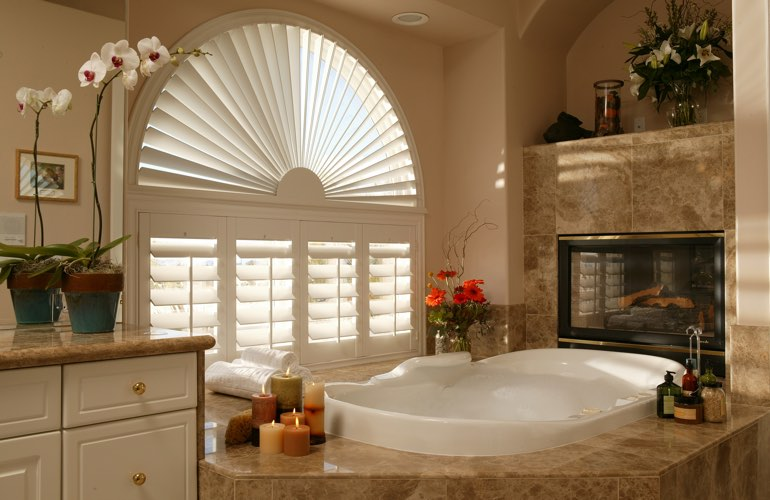 Sunray shutters in a Charlotte bathroom.