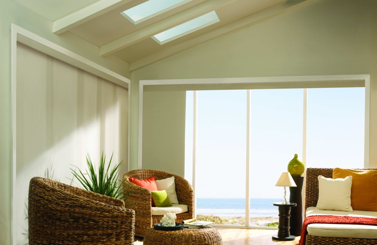 Beachside sunroom with protective UV window film