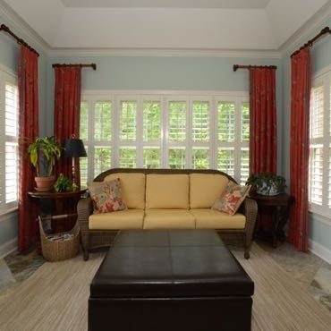 Charlotte sunroom interior shutters.