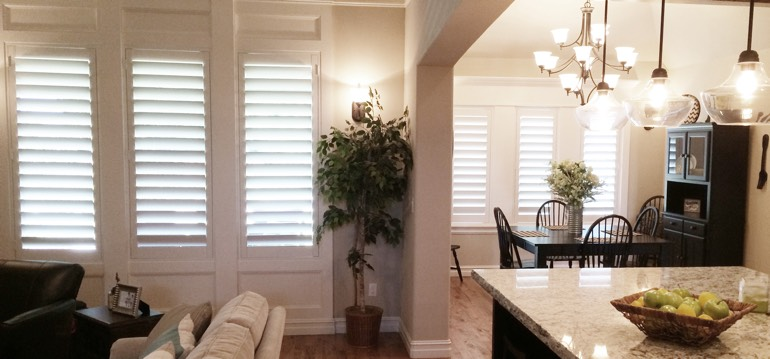 Charlotte shutters in dining room and living room