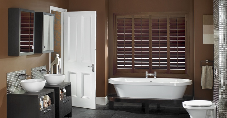 Charlotte bathroom shutters wood stain
