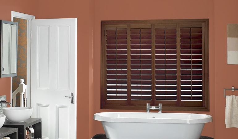 Plantation shutters in a bathroom
