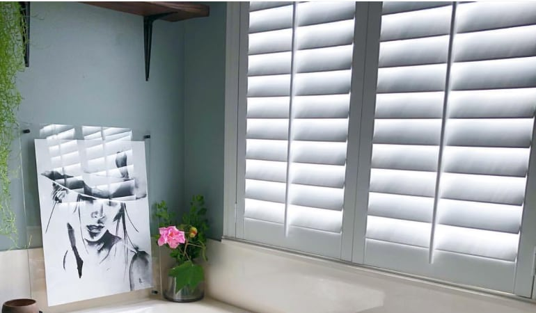 Closeup of White Plantation Shutters