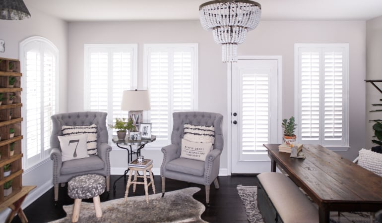 Plantation shutters in a Charlotte living room