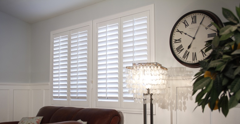 Charlotte living room white shutters