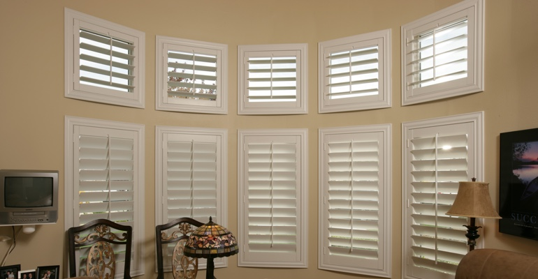 Bay window shutters Charlotte home office