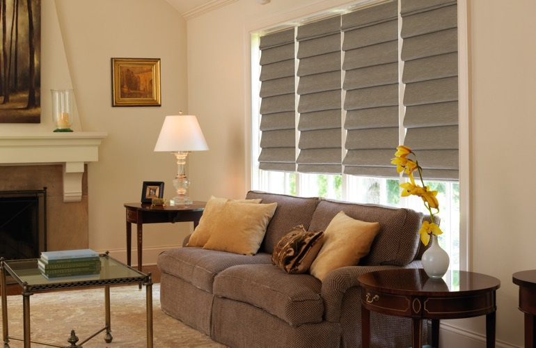 Tan Roman shades in living room