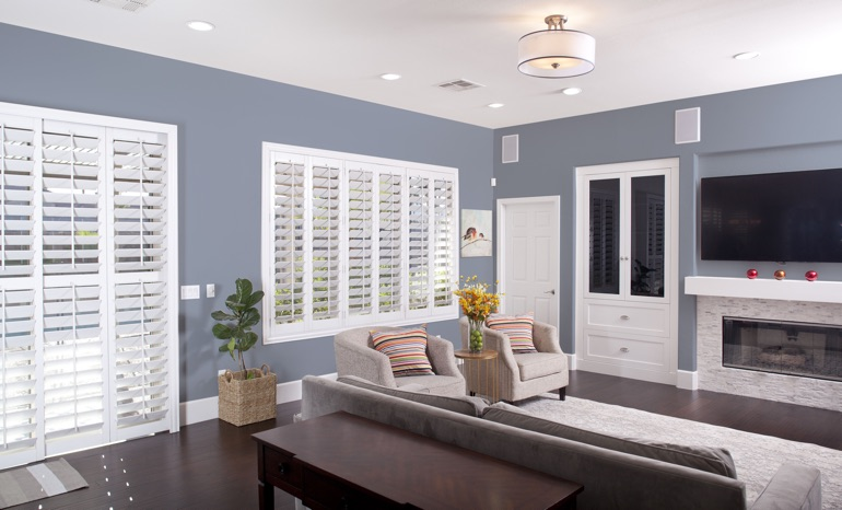 Plantation Shutters In A Charlotte Living Room.