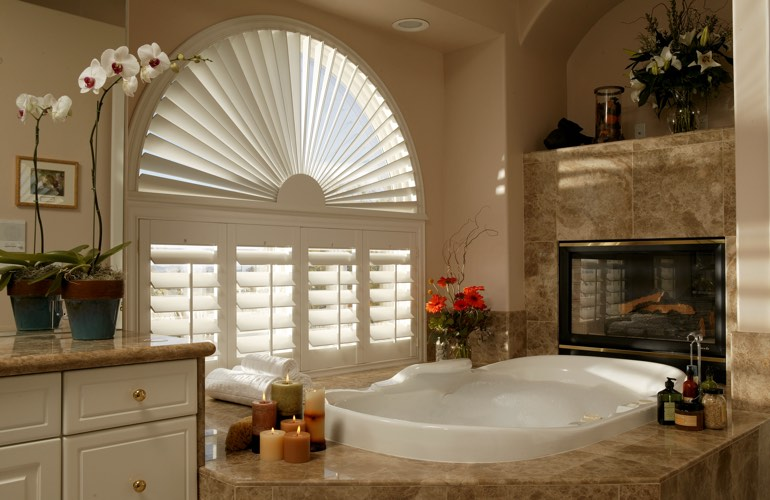 Our Experts Installed Shutters On A Sunburst Arch Window In Charlotte, NC