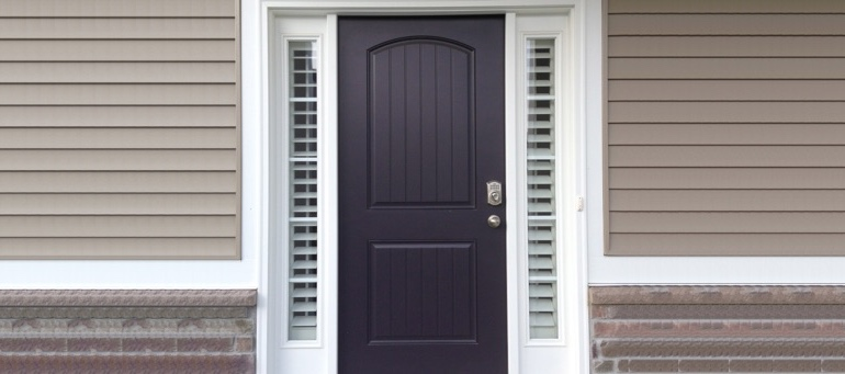 Sidelight Shutters On Black Door In Charlotte, NC
